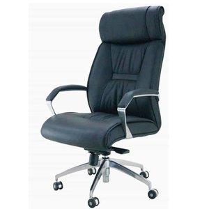 Comprar Sillón dirección Meine-Jarama con brazos de aluminio pulido con apoyo soft mecanismo basculante de lux  tapizado piel natural color negro