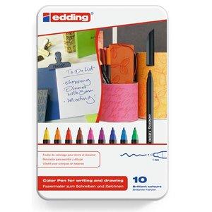 Comprar Caja metálica 10 rotuladores edding 1200  colores surtidos
