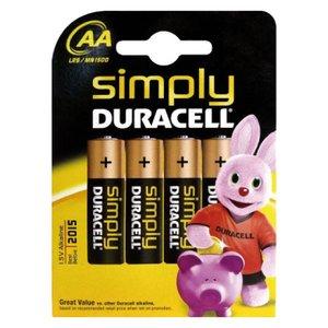 Comprar Blister 4 pilas Duracell Simply AA LR06