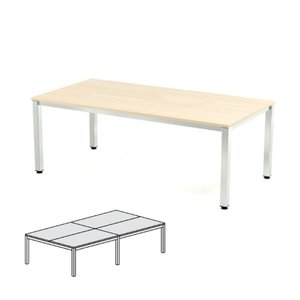 Comprar Mesa reunión 320x163x72-77cm. aluminio/haya