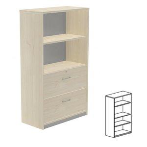 Comprar Armario librería 3 estantes 90x156x45cm. aluminio/gris