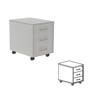 Comprar Buck móvil 3 cajones 40x58x59,5cm.  aluminio/gris