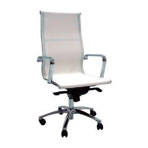 Comprar Sillón dirección Roger-JR Malla con brazos de acero cromado respaldo alto mecanismo basculante de lux  tapizado malla color blanco
