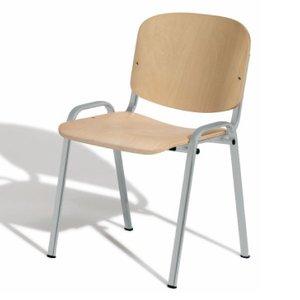 Comprar Silla confidente Class de madera sin brazos con estructura metálica epoxy color gris
