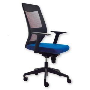Comprar Silla de oficina Korn mecanismo basculante con brazos y soporte lumbar regulables. Respaldo en malla negra y asiento tapizado 1 azul
