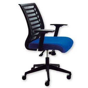 Comprar Silla de oficina Belanova mecanismo basculante con brazos regulables. Respaldo en malla negra y asiento tapizado 1 azul