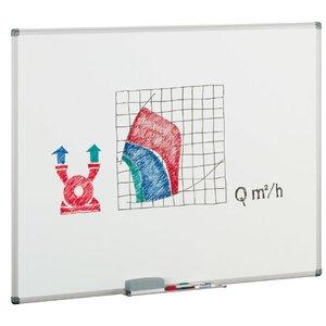 Comprar Pizarra  blanca mural estratificada marco aluminio con cajetín 45x60 cm para rotulador y papel
