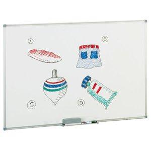 Comprar Pizarra blanca mural Faibo melaminada 8mm marco aluminio cantoneras con cajetín aluminio 60x90cm