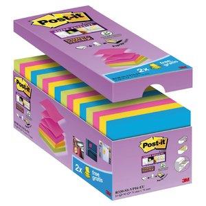 Comprar Pack 14 blocs Post-it® Super Sticky Z-Notas  ccolores surtidos: 4 Azul mediterráneo, 4 amarillos,4 rosa fucsia y 4 espárrago . 14 Blocs + 2 gratis