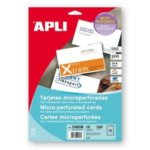 Comprar Pack 100 tarjetas visita Apli microperforadas 200gr 90X50,8mm