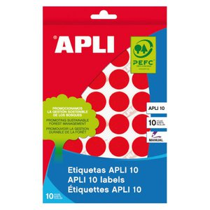 Comprar Pack 320 etiquetas Apli escritura manual color redondas 19mm rojo