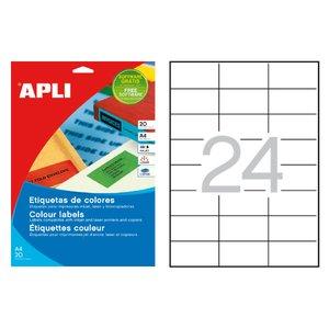 Comprar Pack 480 etiquetas Apli color cantos rectos 70X37mm rojo