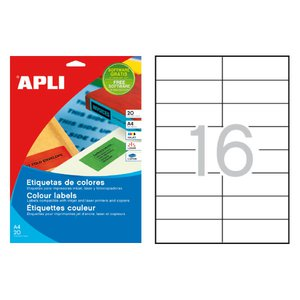Comprar Pack 320 etiquetas Apli color cantos rectos 105x37mm rojo