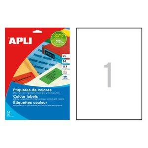 Comprar Pack 20 etiquetas Apli color cantos rectos A4 rojo