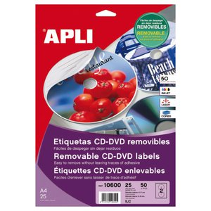 Comprar Pack 50 etiquetas Apli CD-DVD mega removibles
