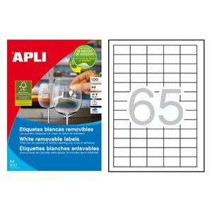 Comprar Pack 6500 etiquetas Apli removibles cantos rectos 38x21,2mm