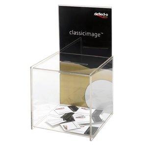 Comprar Buzón de sugerencias con trasera para folletos, transparente 213x213x386 mm