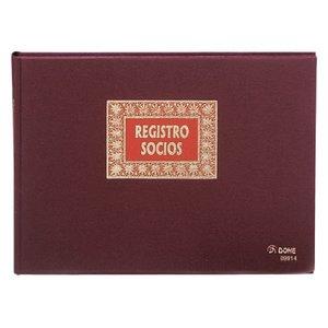Comprar Libro registo socios forrado Dohe tela 100h numeradas folio apaisado