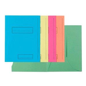 Comprar Pack de 50 subcarpetas impresa de cartulina 2 solapas SUPER 250 210g 5 colores surtidos