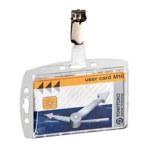 Comprar Caja 25 portanombres acrílicos pases seguridad 54x85mm transparente