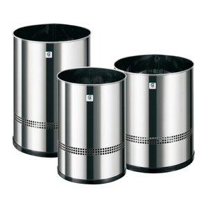 Comprar Papelera acero inoxidable Cilindro perforada altura 38cm diámetro 25cm